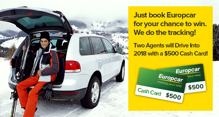 Just book Europcar for your chance to win. We do the tracking! Two Agents will Drive Into 2018 with a $500 Cash Card!
